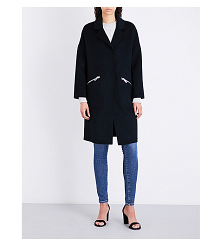 MAJE Grima single-breasted wool-blend coat (Black