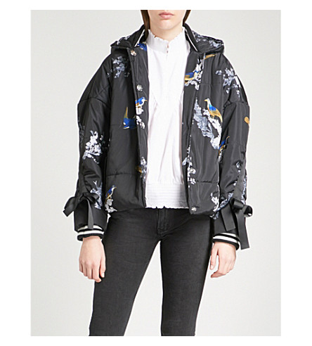 MAJE Guela floral and bird-print shell puffer jacket (Multi-coloured