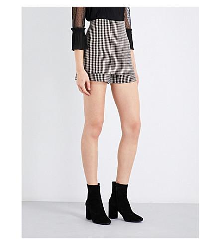MAJE Ilia checked cotton-blend skirted shorts (Jacquard