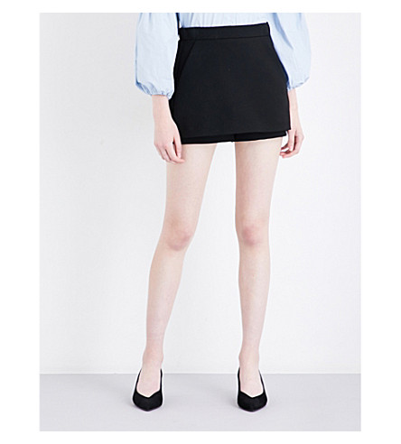 MAJE Pam skirt-overlay shorts (Black+210