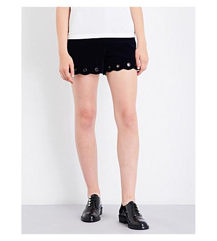 MAJE Pano velvet shorts (Navy