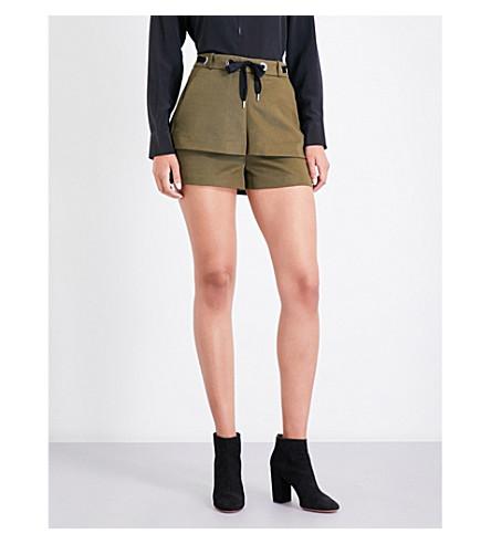 MAJE Polyte twill micro shorts (Khaki