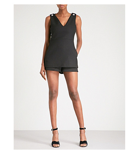 MAJE Irisa embellished woven playsuit (Black