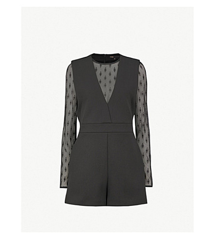 MAJE Istoria lace-trimmed woven playsuit (Black
