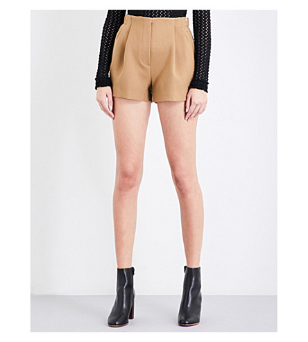 MAJE Ivon high-rise cotton-blend shorts (Camel