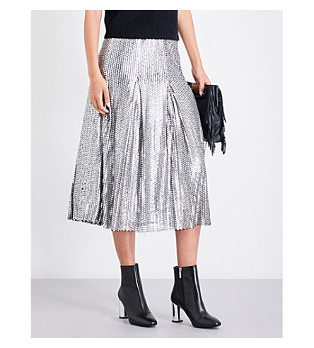 MAJE Jaly sequinned midi skirt (Silver
