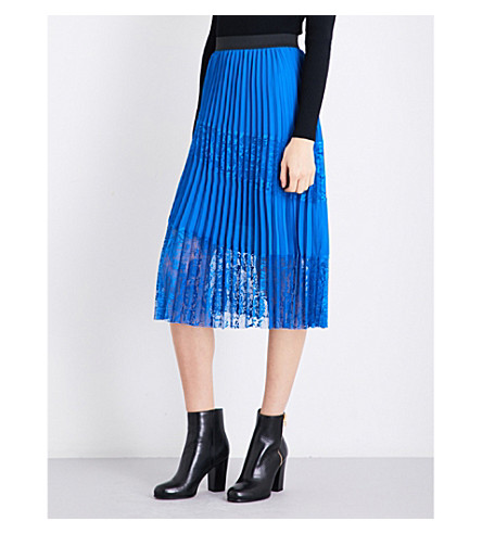 MAJE Jarane high-rise pleated skirt (Blue