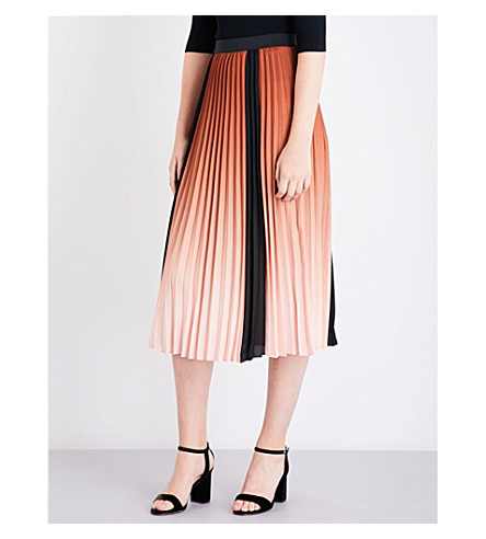 MAJE Javany ombré pleated midi skirt (Orange
