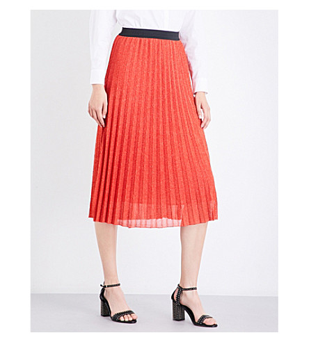 MAJE Jazy pleated lurex skirt (Orange