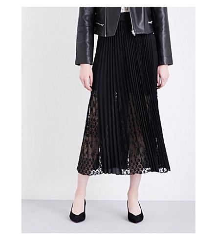 MAJE Jerky floral lace and pleated chiffon skirt (Black+210