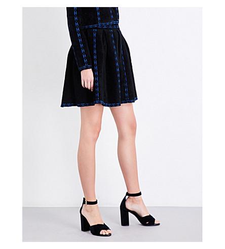 MAJE Jerome geometric-trim twoelling skirt (Black