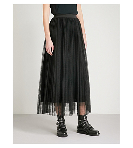 MAJE Jesi pleated tulle midi skirt (Black