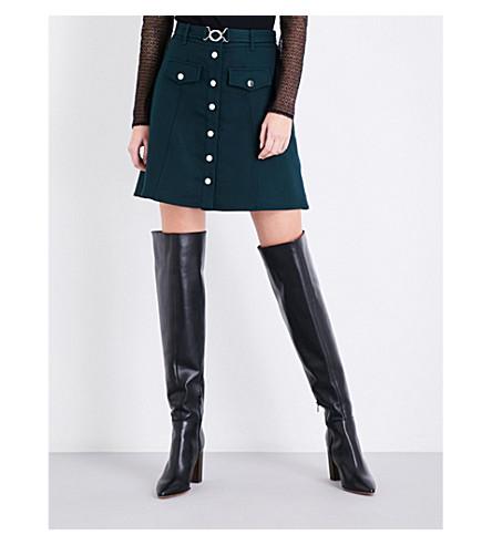 MAJE Jilli belted A-line twill skirt (Green
