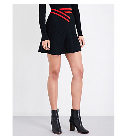 MAJE Jispe striped-trim bouclé skirt (Black