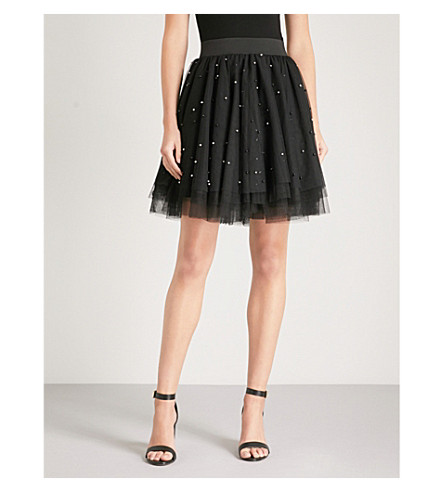 MAJE Jodia bead-embellished tulle skirt (Black