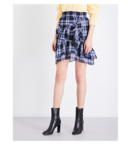 MAJE Jolanta check-print chiffon skirt (Printed