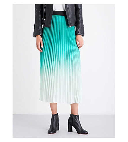 MAJE Jonael pleated crepe midi skirt (Green