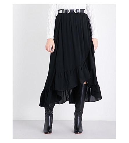 MAJE Jonala wrap-over crepe skirt (Black