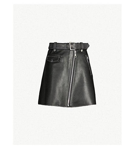 MAJE Jouki A-line leather skirt (Black 210