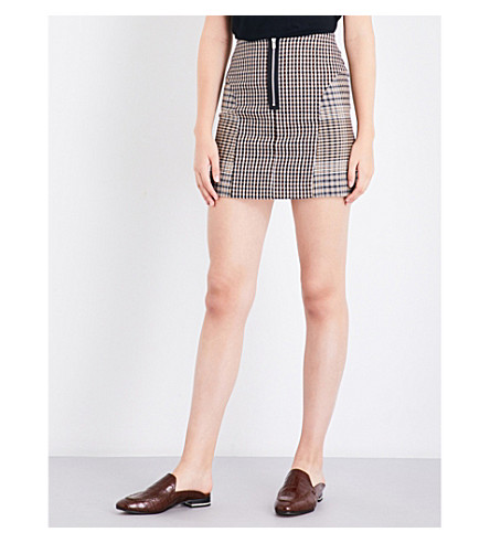 MAJE Joxy Prince of Wales and houndstooth-twill mini skirt (Jacquard