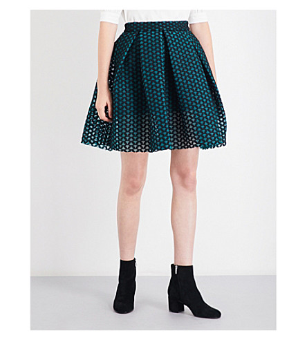 MAJE Juliette high-rise basket weave-pattern skirt (Green