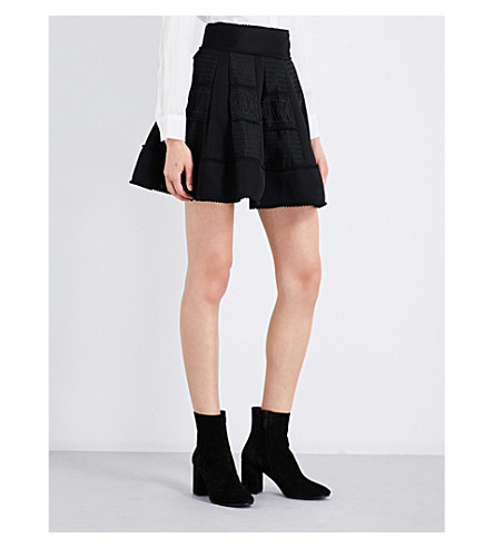 MAJE Jump patchwork mesh skirt (Black+210