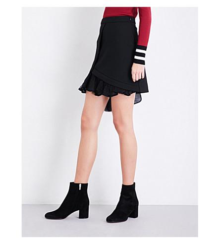 MAJE Just ruffled crepe skirt (Black