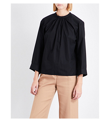 MAJE Lacky cutout-reverse cotton top (Black+210