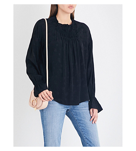MAJE Lago paisley-jacquard blouse (Black+210