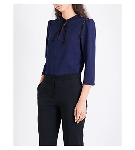 MAJE Lamba embroidered crepe blouse (Night