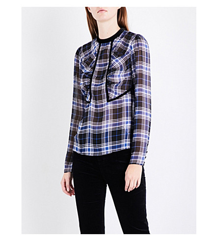 MAJE Lancho checked chiffon top (Printed