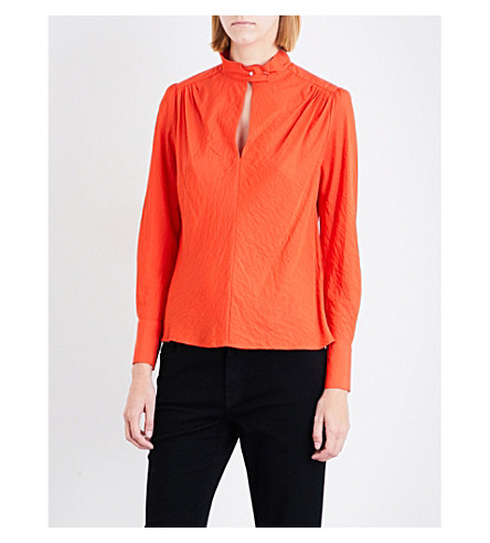 MAJE Lange shoulder-padded woven top (Orange