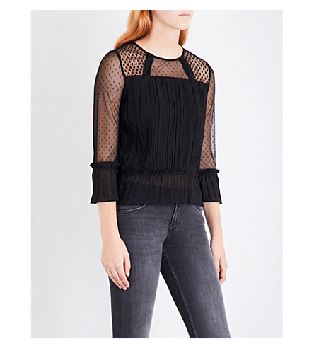MAJE Lannick pleated chiffon top (Black+210