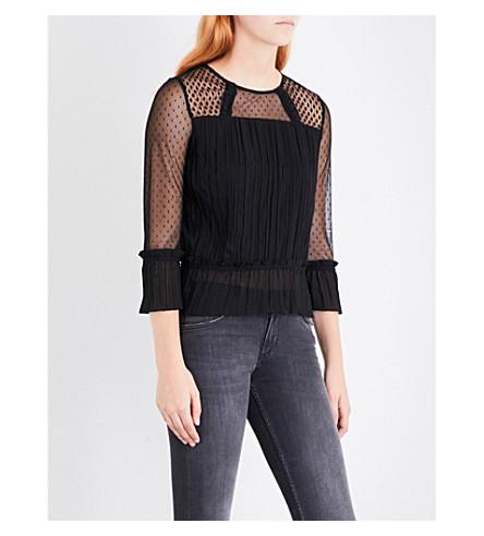 MAJE Lannick 褶裥雪纺上衣 (Black+210
