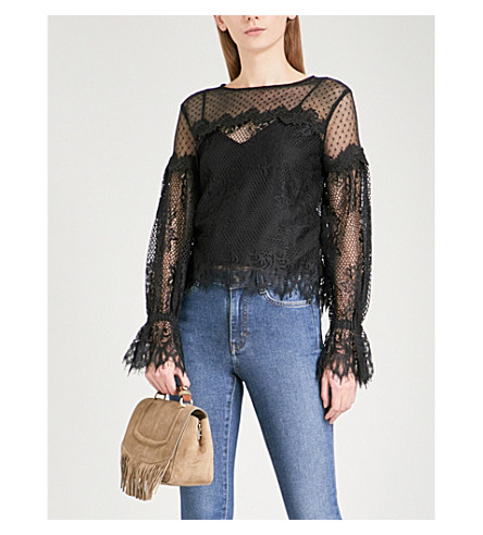 MAJE Larita floral-lace top (Black+210