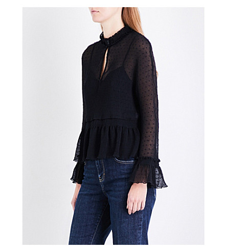 MAJE Laurine ruffled lace top (Black
