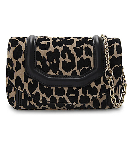 MAJE Leopard-print velvet cross-body bag (Printed