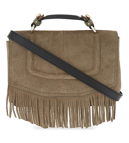 MAJE Fringed shoulder bag (Khaki