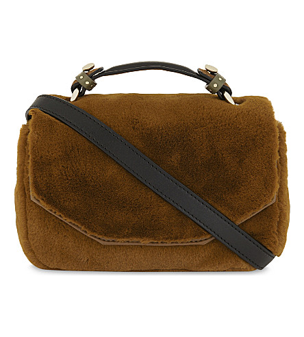 MAJE Faux fur cross-body bag (Caramel