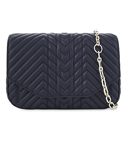 MAJE Quilted leather cross-body bag (Navy