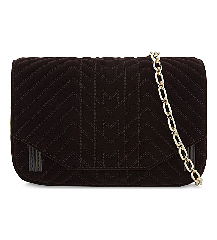 MAJE Quilted velvet cross-body bag (Bordeaux