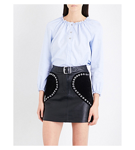 MAJE Linde ruffled-detail cotton-poplin shirt (Blue