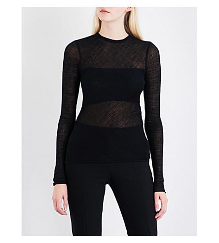 MAJE Linola wool-blend top (Black+210