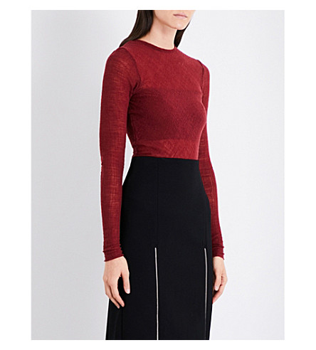 MAJE Linola open-knit wool-blend top (Burgundy