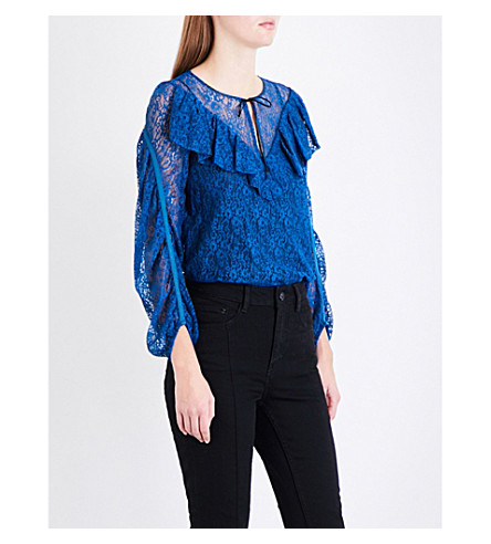 MAJE Lipse ruffled lace top (Blue