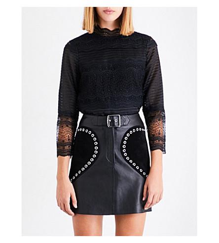 MAJE Lizie geometric pattern lace top (Black+210