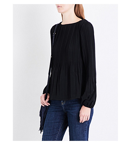 MAJE Lockin pleated crepe top (Black