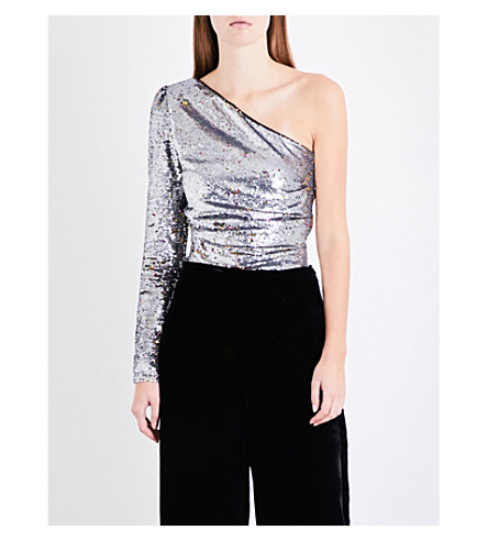 MAJE Loinita one-shoulder sequinned top (Grey