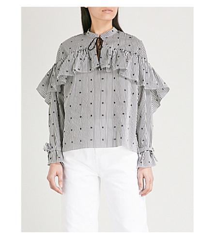 MAJE Lossi ruffled striped cotton blouse (Multi-coloured