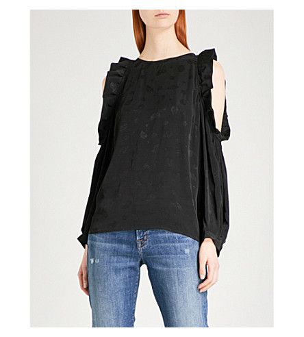 MAJE Loyd cold shoulder crepe top (Black+210